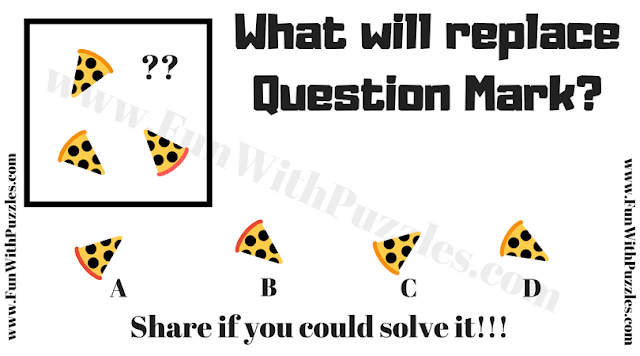 It is non verbal ability puzzle question in which your task is to find the pizza slice which will replace the question mark
