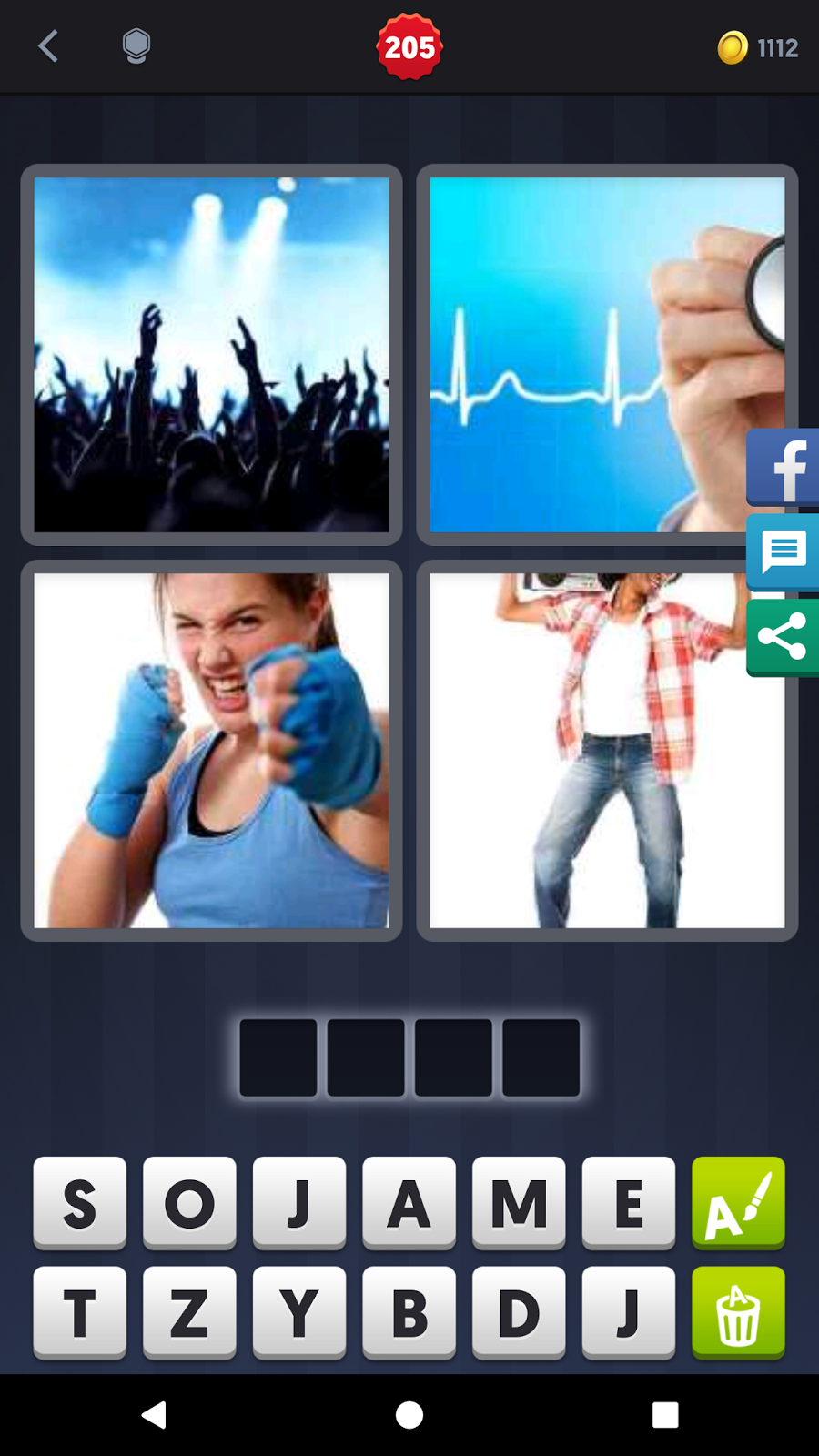 Solutions for 4 pics 1 word