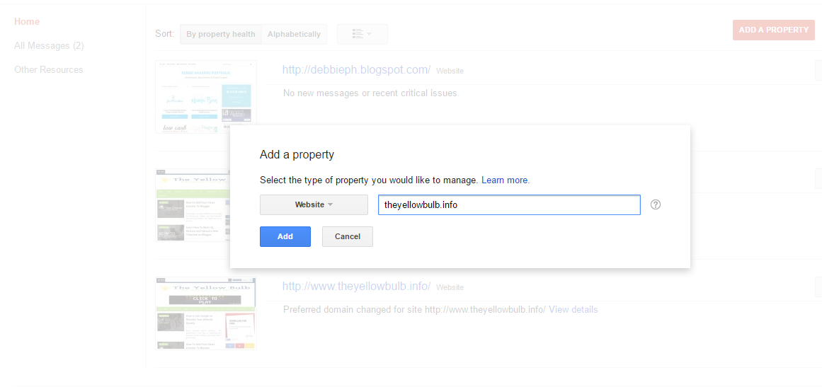 Add a property google search console