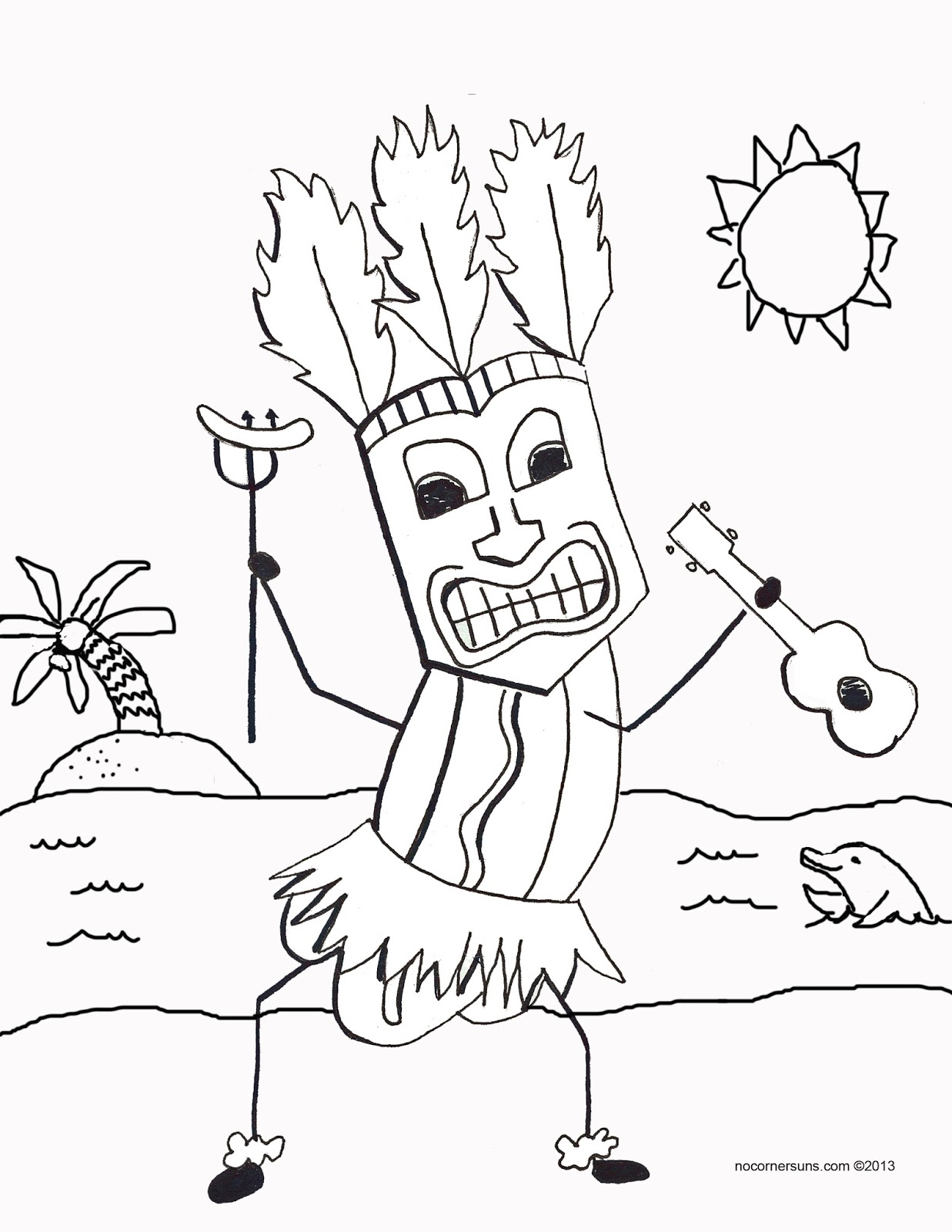 No Corner Suns Tiki Hot Dog Coloring Page