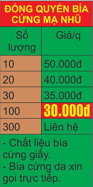 Bảng giá đóng luận văn bìa cứng mạ nhũ, tài liệu, đóng sách giá rẻ Hà Nội