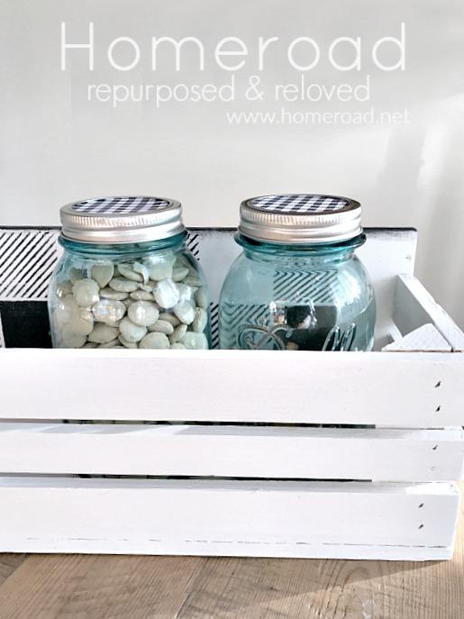 DIY Buffalo Check Blue Mason Jar Crate for Puppy Treats. Homeroad.net