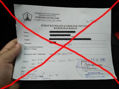 Jangan pakai surat kesehatan dari puskesmas manapun di Kota Malang selain dari klinik yang disediakan oleh Satlantas Kota Malang (dokpri)