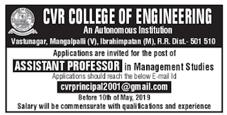 Assistant Professor jobs in CVR College of Engineering, Ranga Reddy Recruitment 2019