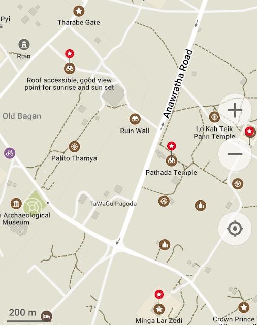 Visiter Bagan en Birmanie avec l'application Maps.me