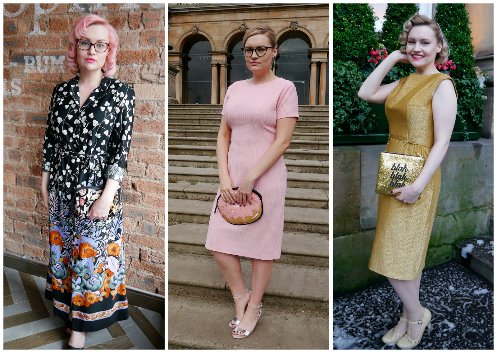 outfit round up, 2016 blogger outfit, blogger style, wardrobe conversations, Scottish blogger, UK style blogger, Edinburgh blogger, Vintage style, vintage dresses, vintage maxi dress, classic powder pink dress, gold party dress, novelty bag, clutch bags, SoS15, glitter clutch bag, vintage hair style, pink hair