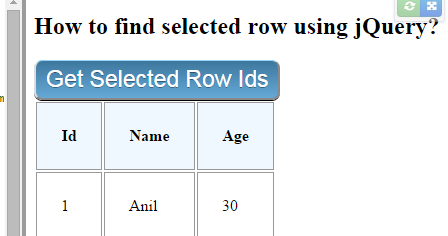 How To Get Clicked Row Id In Jquery