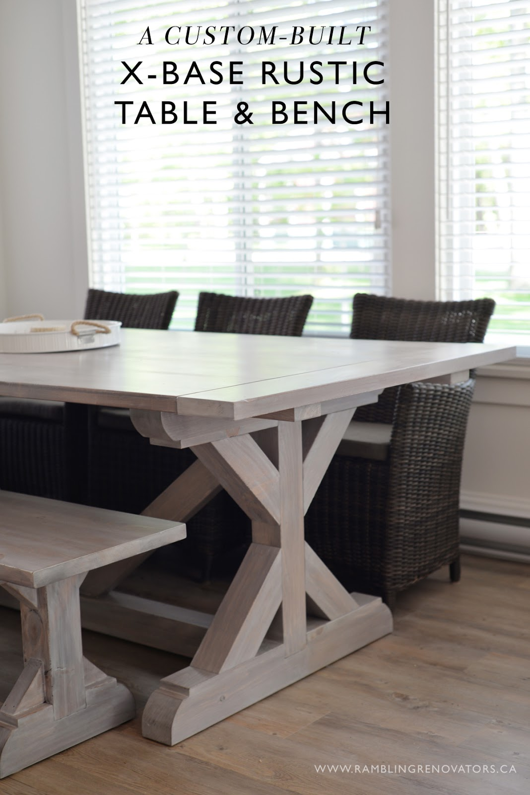 Ramblingrenovators.ca | custom handmade rustic x-base farmhouse table with beachy stain finish