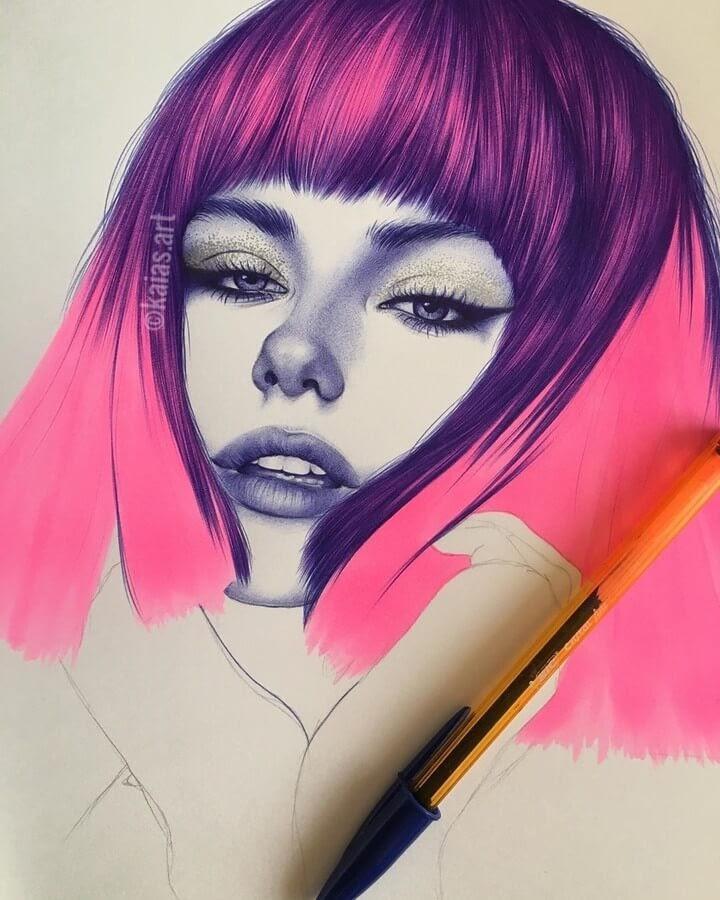 01-Kaia-Ballpoint-Pen-Color-Portraits-www-designstack-co