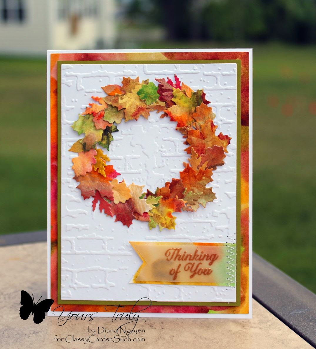 Impression Obsession Little Leaves, Our Daily Bread Designs Ornate Frame Sentiments, brick embossing folder, watercolor, vellum, Diana Nguyen