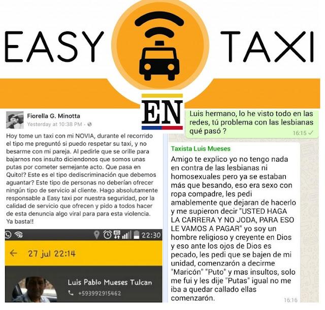easy taxi despide taxista lesbianas besandose