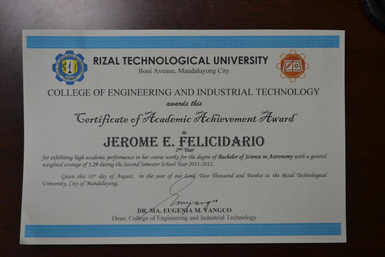 rtu astronomy society academic achievement award