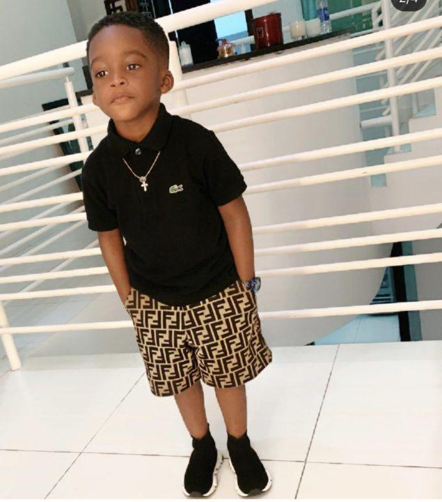Tiwa Savage and son twinning in Fendi
