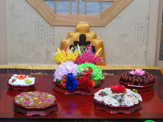 Traditional Korean wedding ceremony at wedding hall - food