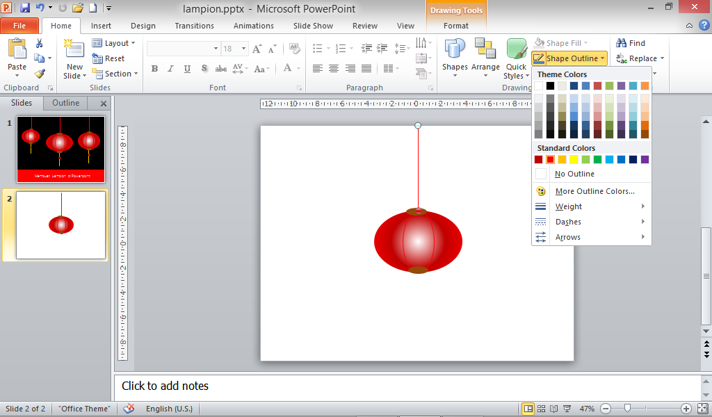 tali lampion pada powerpoint