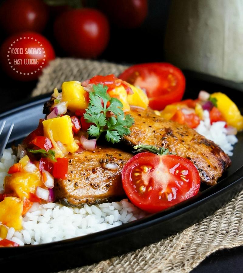 Recipe for Grilled Glazed Wild Salmon with Mango Salsa using Mazola