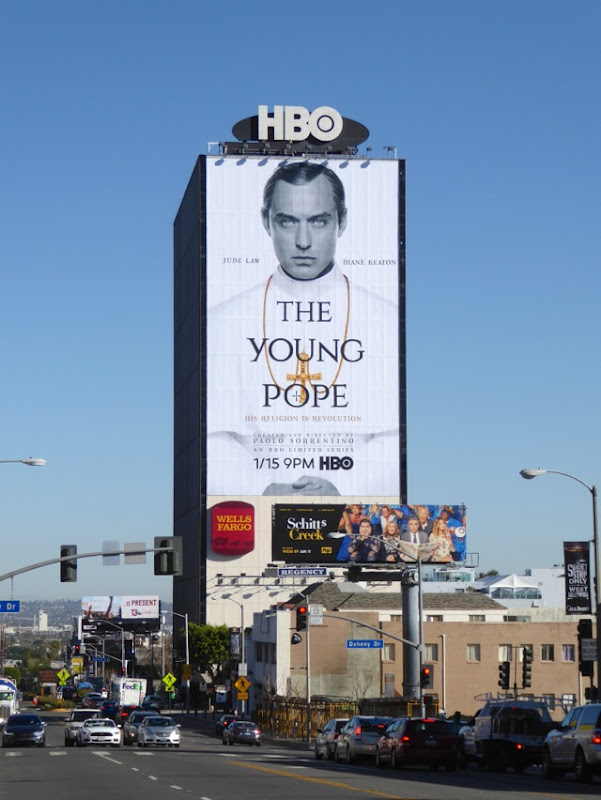 Jude Law Young Pope HBO billboard Sunset Strip