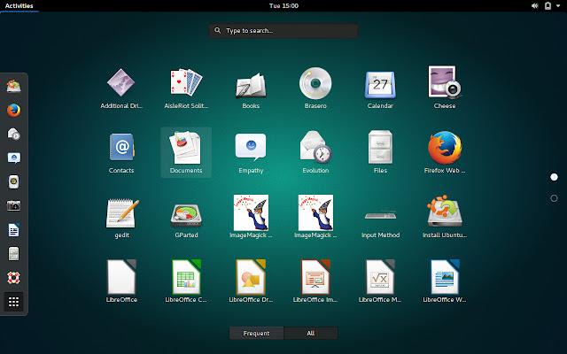 Full screen application menu