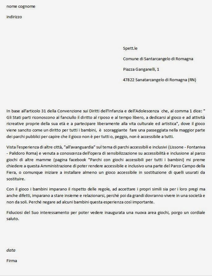 Lettera fac-simile richiesta giochi inclusivi