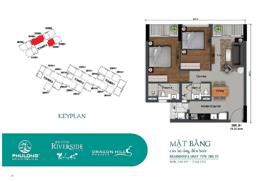 Thiết kế căn 2 phòng ngủ 74.38m2 tại Dragon Riverside