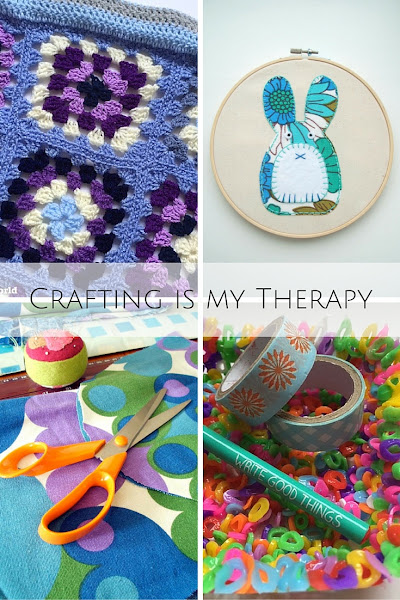 a selection of crafts including crochet, applique, hama beads and scissors promoting the crafting is my therapy blog linky