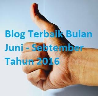 3 Blog Terbaik Bulan Juni - Sebtember 2016 Versi SL Blogger