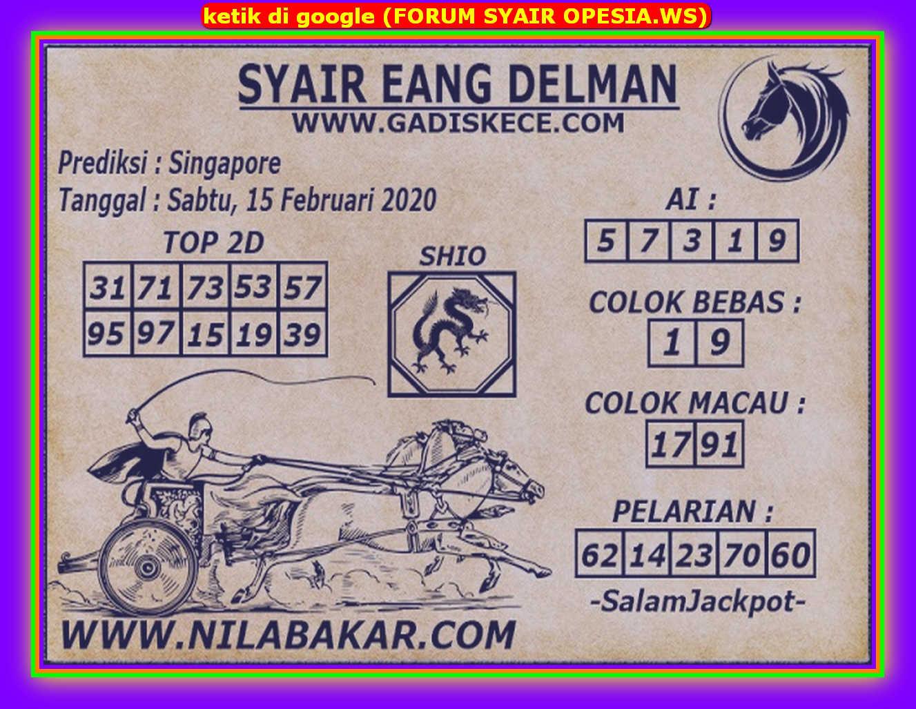 Kode syair Singapore Sabtu 15 Februari 2020 81