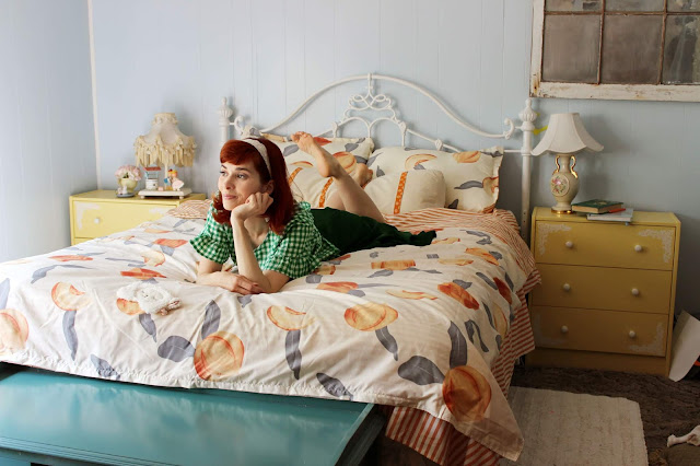 Peach and Stripe Print Bedding Set