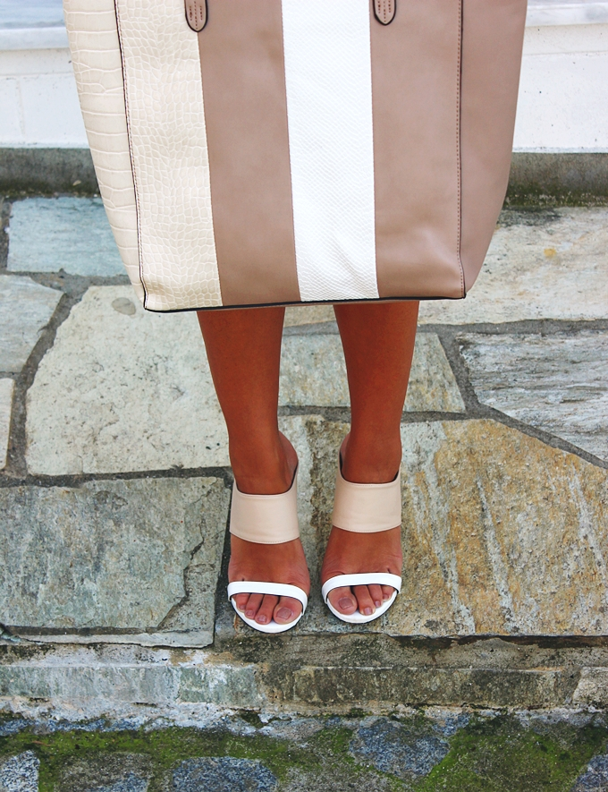 White and beige neutrals shoes and bags combination