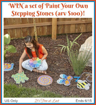 Enter the Paint Your Own Stepping Stones Giveaway. Ends 6/15
