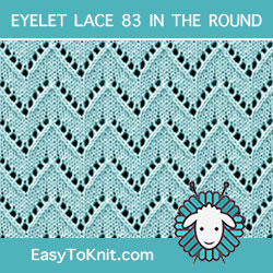 Chevron Eyelet Lace, easy to knit in the round