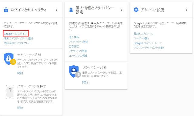 Googleへのログイン