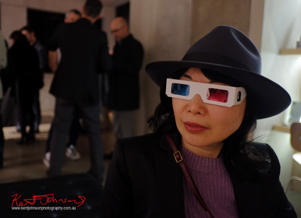 Wearing stereo viewing glasses for STEREOGENIC at Black Eye gallery. Photo by Kent Johnson.