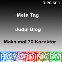Meta Tag Judul Blog Maksimal 70 karakter