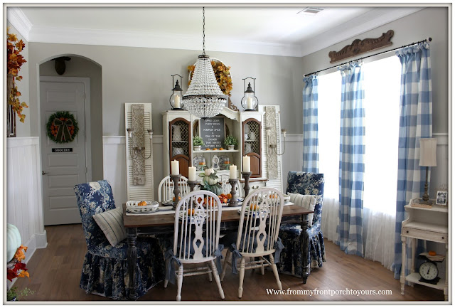 Fall Dining Room-French Country-French Farmhouse-Cottage Style-Pottery Barn Mia Chandlier-DIY-Fiddleback Chairs-Biffalo Check-Parson Chairs-Vinatge-China Hutch-From My Front Porch To Yours