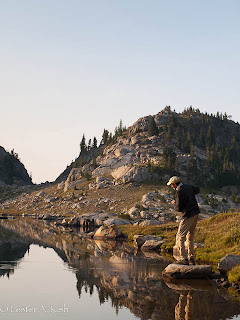 Angler casting in a Beartooth Mountain lake