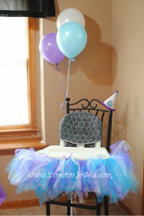 Baby Girl Purple and Teal Turquoise First Birthday Owl Party www.directorjewels.com - High Chair Tutu, Balloons