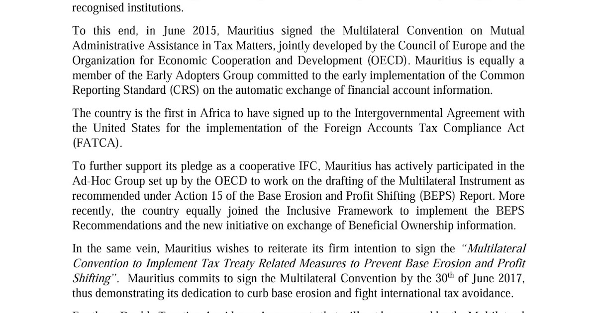 Amar Mauritius Commits To Sign The Multilateral Convention To