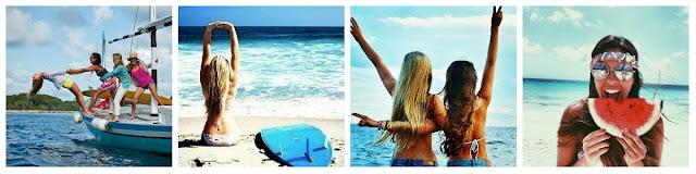 amigas na praia, loira com prancha, menina comendo melancia na praia