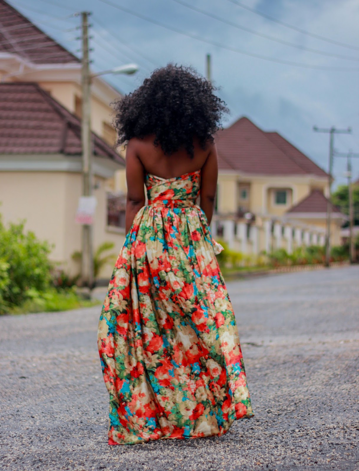 FLORALS - Floral Print maxi skirt with wrap round bandeau top