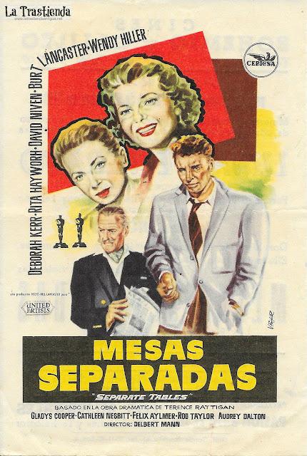 Mesas Separadas - Programa de Cine - Deborah Kerr - Rita Hayworh - Burt Lancaster - David Niven