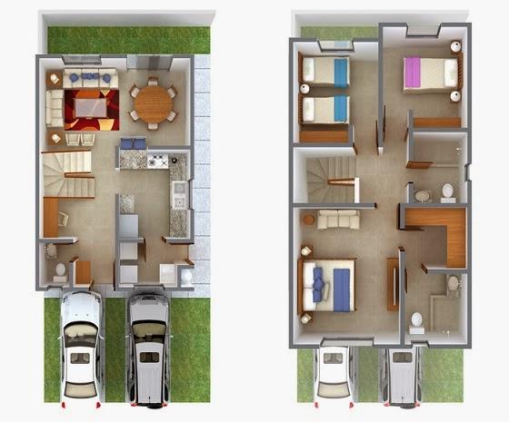 Planos de casas modernas plano moderno 145 m2 for Casa moderna 140 m2