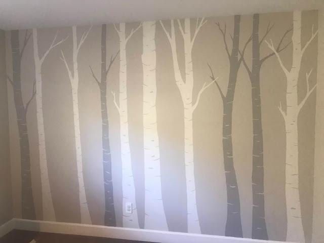 nursery mural, neutral nursery mural, tree nursery mural, birch tree mural, mountain nursery mural, grey nursery mural, grey nursery, portland muralist, portland nursery mural