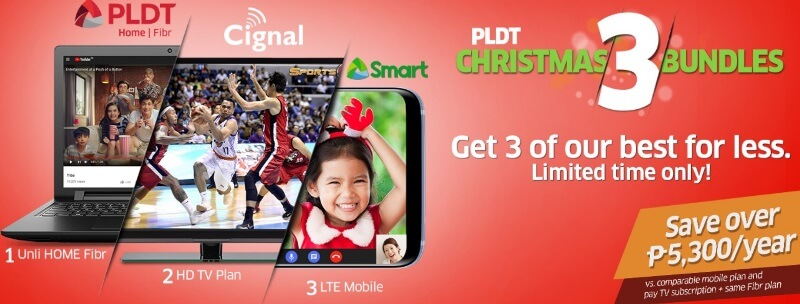 Mix and Match Fibr, Cignal, and Smart Plans through #Christmas3Bundle Promo