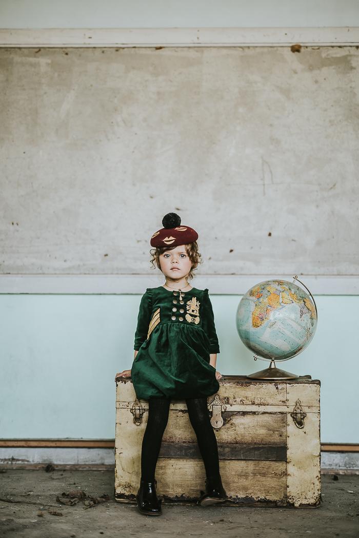velvet girl dress globe hat