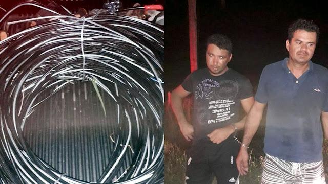 Dupla é presa após furtar fiação de iluminação pública da SE-100 na Barra dos Coqueiros