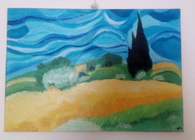 riproduzione del campo di grano di Van Gogh