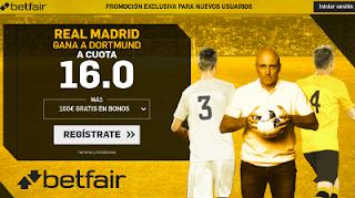 betfair supercuota victoria del Real Madrid al Dortmund 6 diciembre
