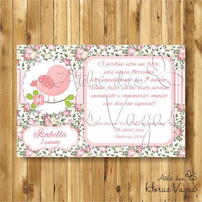 convite digital aniversário infantil personalizado passarinho jardim encantado floral delicado rosa 1 aninho provençal menina