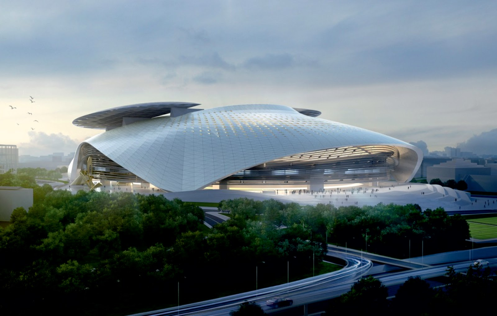 Silk Leaf Stadium By Coop Himmelb L Au A As Architecture